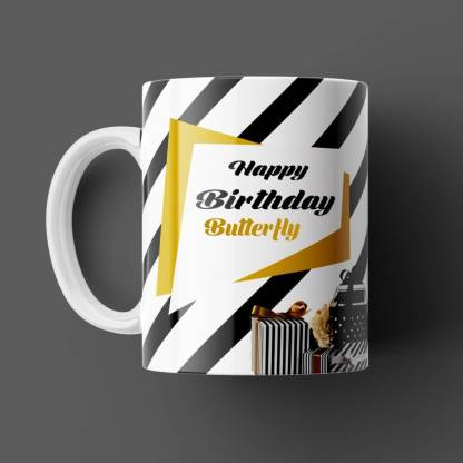 Beautum Happy Birthday Butterfly Best B'day Gift White Ceramic (350ml) Coffee Model NO:ZHB023916 Ceramic Coffee Mug