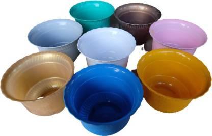"Nursery N Pots Storee China Flowers Pots / Planter / Plant Container 8 "" Pack of 8 Planters (20.5cm x 20.5cm x 19cm) Plant Container Set(Pack of 8, Plastic)"