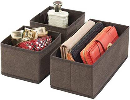 METRONAUT Set of 3 Closet Dresser Drawer Organizer Cube Basket Bins Containers Divider with Drawers for Underwear, Bras, Socks, Ties, Scarves, Brown