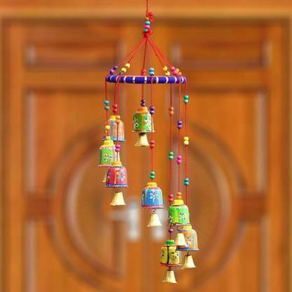 RVART Handcrafted Round Bells Design Wood Windchime (19 inch, Multicolor) Plastic Plastic Windchime