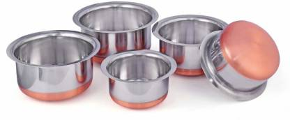 Nirvika Stainless Steel Copper Bottom Cookware set/Container/Tope Set of 5 Pieces patila/bhaona/tapeli/serving bowl/biryani new pot pan(3 Litter Tope , 2.3 Litter Tope , 1.9 Litter Tope , 1.4 Litter Tope , 1 Litter Tope without lid) (Non-stick, Induction complitable) Cookware Set