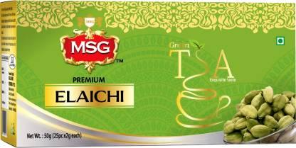 MSG Antioxidants Rich Detox Tea for Weight Management (Elaichi) Cardamom Green Tea Bags Box