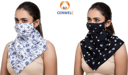 CENWELL All Season Mask with Scarf with Multi-Use - Neckerchief, Headband , Wristband, Mask, Hair-band, Balaclava Face Mask, Face scarf, seamless Mask, Beanie, Bandana, Mouth Mask -Designer Printed Fashionable Stylish Anti-pollution Protective100% soft cotton rayon Scarves with Mask with Adjustable Ear loops for Men , Women, Ladies , girls , teens - Winters Exclusive Designer Face Mask U Water Resistant, Reusable, Washable Cloth Mask With Melt Blown Fabric Layer