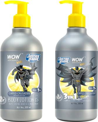 WOW SKIN SCIENCE ULTIMATE COMBO OF BATMAN BODY LOTION AND 3I1 BODY WASH FOR KIDS