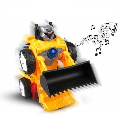 Smartcraft Deform Musical Bulldozer, Robot Bulldozer with Light and Sound Toy, Vehicles Toys for Kids, Changeable Robot Toys