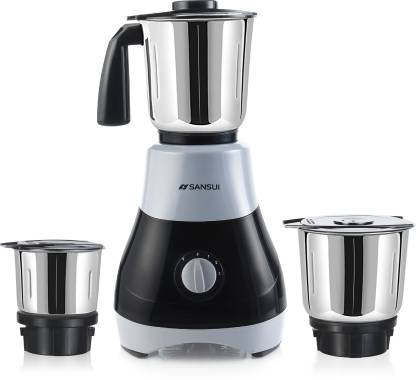 Sansui ProHome Melange 500 W Mixer Grinder (3 Jars, Grey, Black)