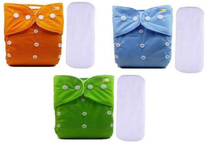 Alya Pack of 3 Premium Quality Baby ReusabN)le Cloth Diapers All in One Adjustable Pocket Style Nappies Washable Durable With 2 Wet-Free White Multi-Layer Microfiber Insert Pads Combo (0-24 Months,3-16KG, S-M-L Sizes)(BLUE,ORANGE,GREEN)