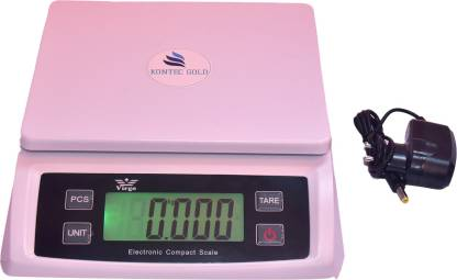 KONTEC GOLD DIGITAL WEIGHING SCALE 1 gram to 30kg electronic weight machine (WHITE). Weighing Scale