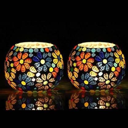 LPINE Floral tea candle holder Glass Tealight Holder Set