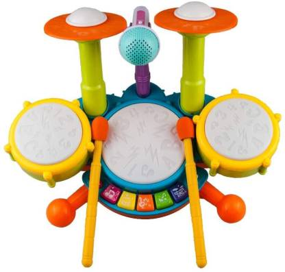 sarvopari mega mall Kids Drum Set Toddler Toys with Adjustable Microphone, Musical Instruments Playset Fit for 2-12 Year Olds Boys and Girls(Multicolor)
