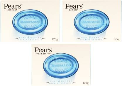 Pears Imported (Made in UK) Pure & Gentle With Mint Extracts 125g (375 g, Pack of 3)