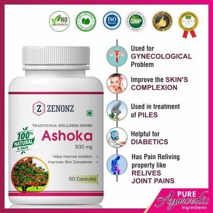 zenonz Ashoka Herbal Capsules For Helps To Remove White Discharge
