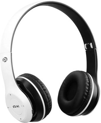 Raptech P47 Wireless Headphones with Stereo Fm,Memory Card Support Bluetooth Headset(White, On the Ear)