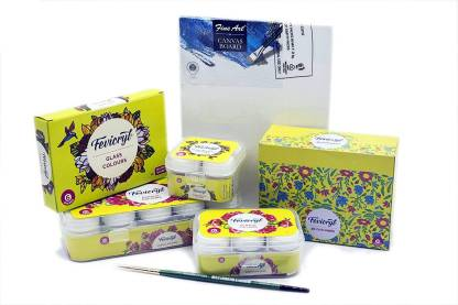 Fevicryl Festive Combo kit of Acrylic colours, Glass Colours 3D Outliners and Fine Art Canvas with Brushes