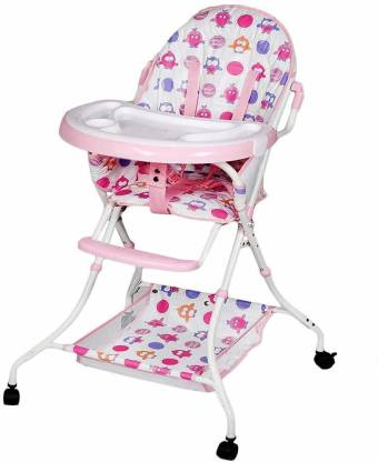 whitecloud Foldable Baby Dining High Chair with Wheel Stroller