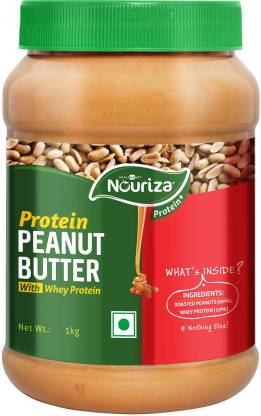 NOURIZA Peanut Butter Protein Fortified Unsweetened, Crunchy, 1 kg