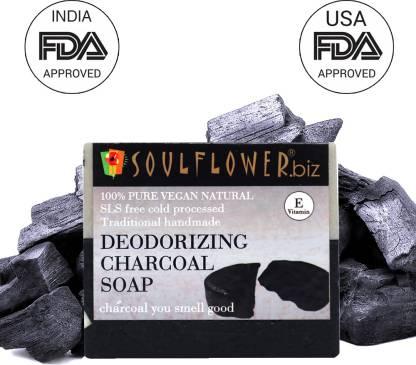 Soulflower Deodorizing Charcoal Soap 150g, For Oily Skin, Pimple Care, Moisturizing Soap, Luxury, Premium Handmade Soap