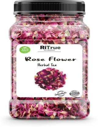 RiTrue 30 Gm Pure Rose Petals Tea ( 60 cups ) for weight loss - Skin and Hair Care Herbal Tea Plastic Bottle