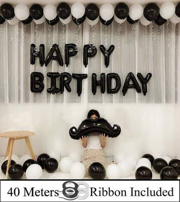 DECOR MY PARTY Solid Happy Birthday Letter Foil Balloon Set With Mustache , Metallic Balloons & Curling Ribbon For Kids Birthday Party Decorations Letter Balloon