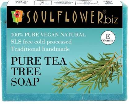 Soulflower Tea Tree Soap, 100% Premium & Pure, Natural and Coldpressed, For Acne Control, Clear Skin, Luxury, Premium Handmade Soap
