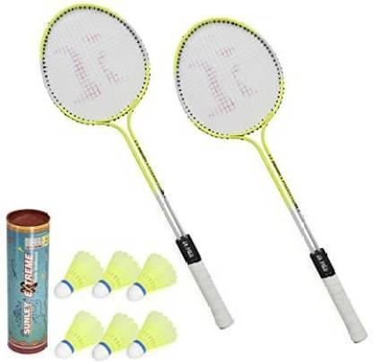 AS Badminton Set Of 2 Piece Racquet with 6 Piece Plastic Shuttle Badminton Kit Yellow Strung Badminton Racquet