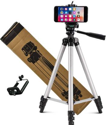 FRAONY Combo 3110 Tripod with mobile holder Light Aluminum Alloy Photography Stand for Make Videos on ,MX Taka Tak, Vigo Video,YouTube ,instagram ,online class, Fits all smartphones ,camera ,projector/ Strong and Durable Tripod/Portable and Extendable body Tripod, Tripod Kit