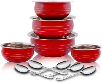 Classic Essential by Classic Essentials Red Coloured biryani Handi, 5 Pcs set, 12cm, 14cm, 16cm, 18cm, 20cm(230ml,300ml,500ml,600ml,1100ml) Cookware Set