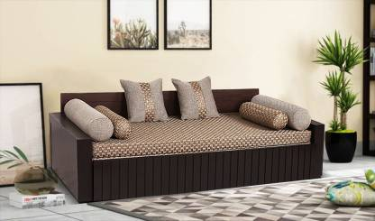 Arra Aster Sofa Bed Lines Double Fabric, Brown Cloth Sofa Bed