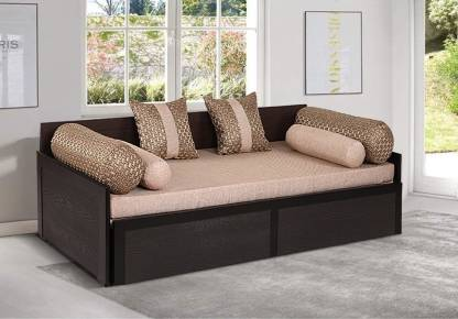 Arra Aster Sofa Bed Waves Jute Double, Brown Cloth Sofa Bed