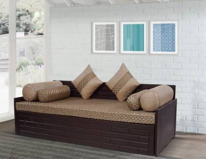 Arra Brick Sofa Bed Double Fabric, Brown Cloth Sofa Bed