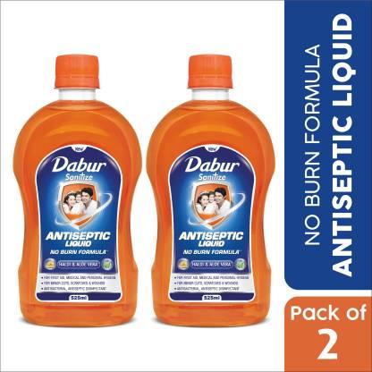 Dabur Sanitize Antiseptic Liquid | No Burn Formula Antiseptic Liquid(1050 ml, Pack of 2)