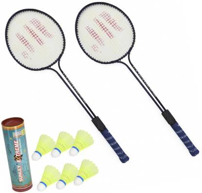 AS Badminton Set Of 2 Piece Racquet with 6 Piece Plastic Shuttle Badminton Kit Badminton Kit