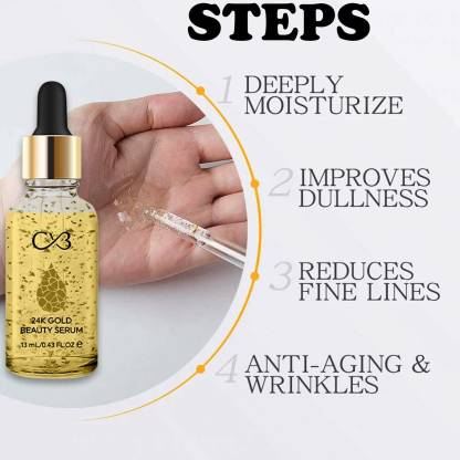 CVB LC801 24K Gold Beauty Serum for Visible Radiance, Anti-Aging Lightweight Plant-Based Moisturizer for De-Pigmentation and Skin Brightening