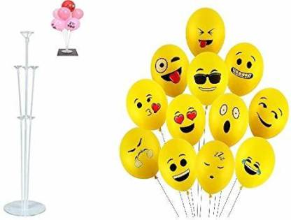 Smartcraft Printed Combo of Emoji Balloons (Pack of 25) with Balloon Stand- Multicolor Balloon Bouquet