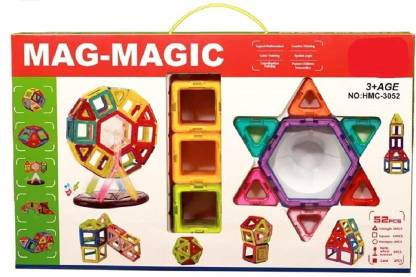 jmv 52 Pcs Mag-Magic Creativity Theme Brain Development Magnetic Game Educational 3D Blocks Set Toy with Music & Light