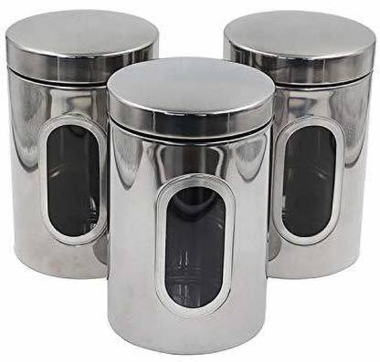 Megnum Unique Kitchen Air Tight Canisters Clear Glass Window Stainless Steel Coffee Tea Sugar Food Grade