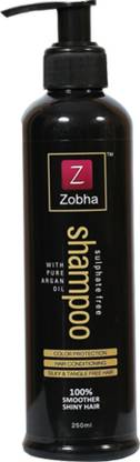 Zobha Sulphate Free Shampoo With Pure Argan Oil For Color Protection, Smooth & Silky, Tangle Free Hair - 250ml