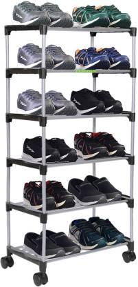 FLIPZON Premium 6 Shelve Smart Shoe Rack/Multipurpose Storage Rack with Wheels Metal Shoe Stand