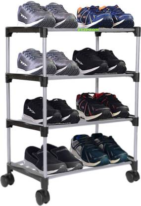 FLIPZON Premium 4 Shelve Smart Shoe Rack/Multipurpose Storage Rack with Wheels Metal Shoe Stand