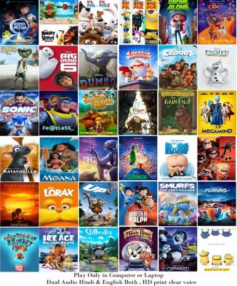 41 Cartoon Movies (dual audio Hindi and English) name see in Description HD print clear audio it's burn DATA DVD play only in computer or laptop it's not original without poster