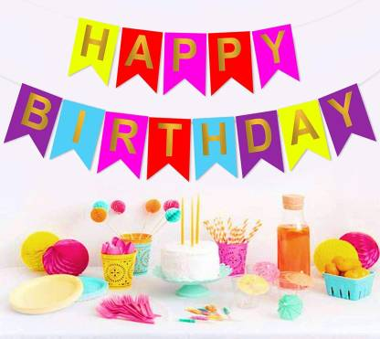 DECOR MY PARTY Happy Birthday Printed Banner For Birthday Party Decoration / Paper Hanging Items Banner