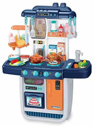 Enrics Kids Kitchen Playset With Realistic Lights Sounds Play Sink With Running Water Dessert Shelf Toy Kitchen Set For 2 3 4 5 6 Year Old Girls Kids Kitchen Playset