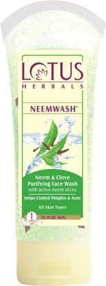 Lotus Herbals Neem and Clove Purifying Face Wash with Active Neem Slices-120g