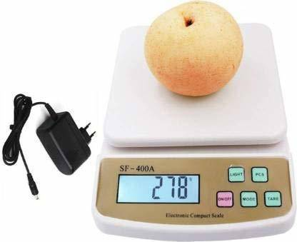 Zynaty Digital 10kg X 1g Kitchen Scale Balance Multi Purpose Weight Measuring Machine With Adapter Weighing