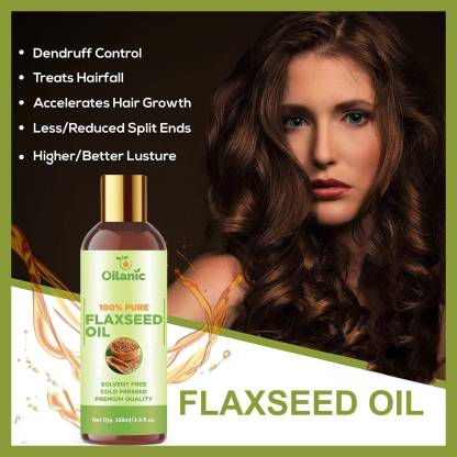 Oilanic 100% Pure & Natural Flaxseed Oil( 100 ml) Hair Oil