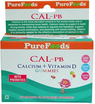 PureFoods CAL-PB Calcium + Vitamin D Sugar Free Gummies for Kids with Prebiotics