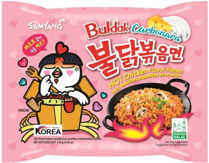 Samyang Buldak FIRE CHICKEN CARBONARA (Pack of 5) Ramen Instant Noodles Non-vegetarian