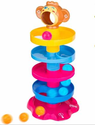 CountryLink monkey ball drop toy for babies and toddlers | new 5 layer tower run with swirling ramps and 3 puzzle rattle balls | best educational development toy set for kids