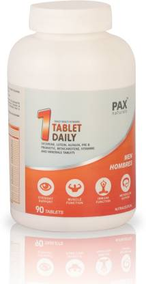 paxnaturals One Tab Daily Multivitamin and Minerals for Men Immunity Booster, Antioxidant