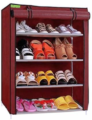 FLIPZON Iron and Fabric Multi-Purpose Shoe Rack, 4 Shelf, Maroon Metal Shoe Stand